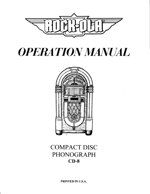 Seeburg Cd Jukebox Operation  Service Manual    Jordan
